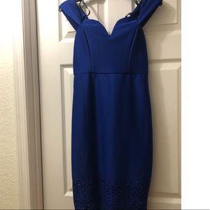 Bisou Bisou Cobalt blue midi dress. Size 4.